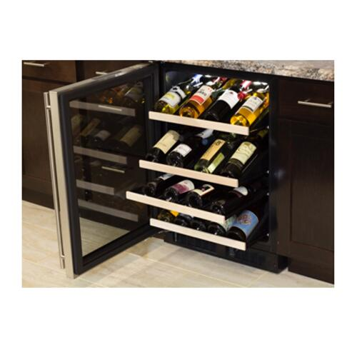 "Marvel - Marvel 24"" High Efficiency Gallery Single Zone Wine Refrigerator - Stainless Steel Frame Glass Door - Left Hinge"