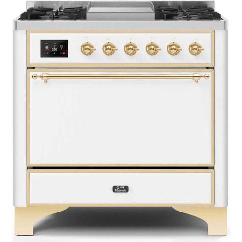 Gallery - Majestic II 36 Inch Dual Fuel Liquid Propane Freestanding Range in White with Brass Trim