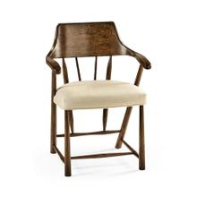 Tudor Oak Dining Armchair with Fabric Seat, Upholstered in MAZO