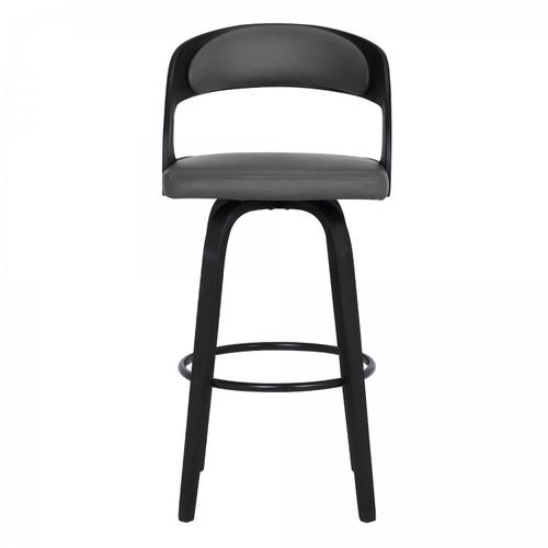 """Shelly Contemporary 30"""" Bar Height Swivel Barstool in Black Brush Wood Finish and Grey Faux Leather"""