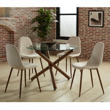 Rocca/Lyna 5pc Dining Set, Walnut/Beige