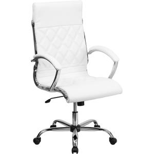Gallery - High Back Designer Quilted White LeatherSoft Executive Swivel Office Chair with Chrome Base and Arms