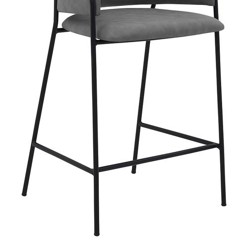 """Oshen 26"""" Modern Counter Height Bar Stool with Black Metal Finish and Gray Faux Leather"""