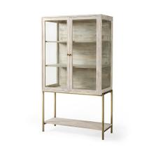 See Details - Arelius 36L x 18W x 63H White Wood W/ Gold Metal Base Display Cabinet