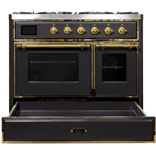 Majestic II 40 Inch Dual Fuel Natural Gas Freestanding Range in Matte Graphite with Brass Trim