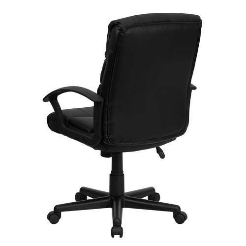 Gallery - Mid-Back Black LeatherSoft Swivel Task Office Chair with Arms