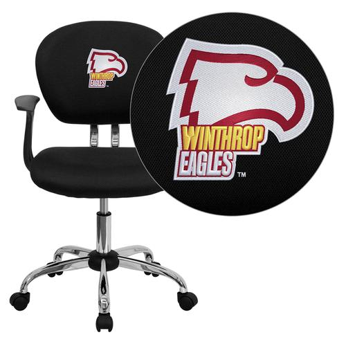 Winthrop University Eagles Embroidered Black Mesh Task Chair with Arms and Chrome Base