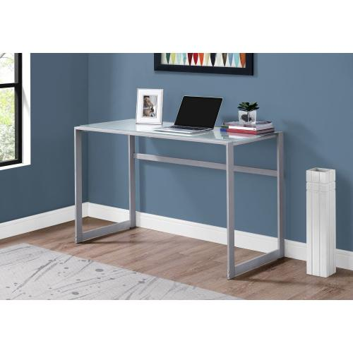 "COMPUTER DESK - 48""L / SILVER METAL/ WHITE TEMPERED GLASS"