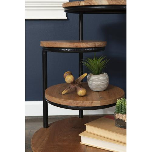 4-tiered Plant Stand Wheels, Black and Brown