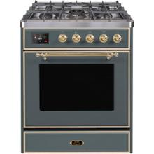 See Details - Majestic II 30 Inch Dual Fuel Natural Gas Freestanding Range in Blue Grey with Brass Trim
