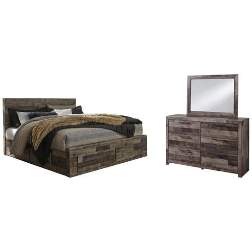 Ashley - King Panel Bed With 2 Storage Drawers With Mirrored Dresser