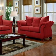 See Details - Sensations Red Microfiber Pillow Back Loveseat Made In USA