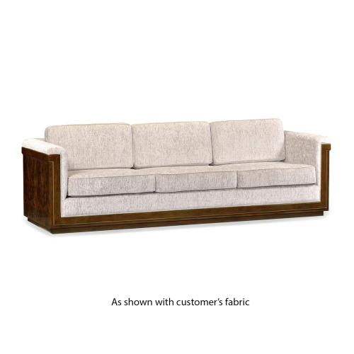 110'' Antique Mahogany Brown High Lustre Sofa, Upholstered in COM