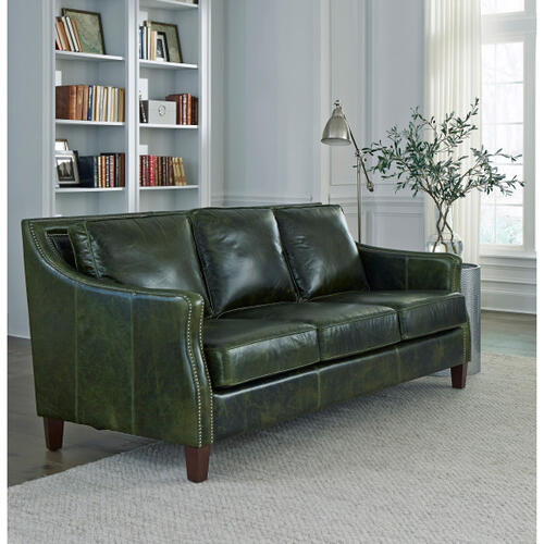 Miles Top Grain Leather Sofa in Fescue Green