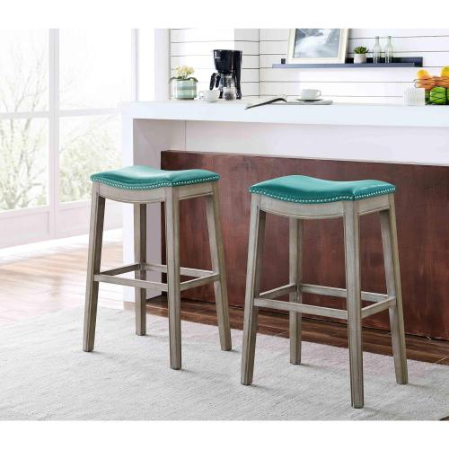 Elmo Bonded Leather Bar Stool Mystique Gray Frame, Turquoise