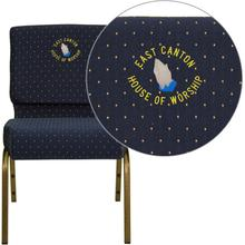 Embroidered HERCULES Series 21''W Stacking Church Chair in Navy Blue Dot Patterned Fabric - Gold Vein Frame
