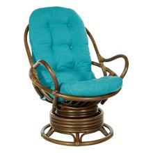 Kauai Rattan Swivel Rocker Chair In Blue Fabric and Brown Frame