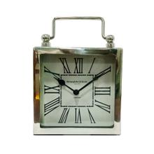 6x8 Metal Table Clock, Silver