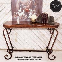See Details - Mesquite wood Entryway table - Rustic Metal Console - 1216C - Mesquite Free Form / Turquoise / Dark Rust Brown