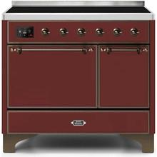 Majestic II 40 Inch Electric Freestanding Range in Burgundy with Bronze Trim