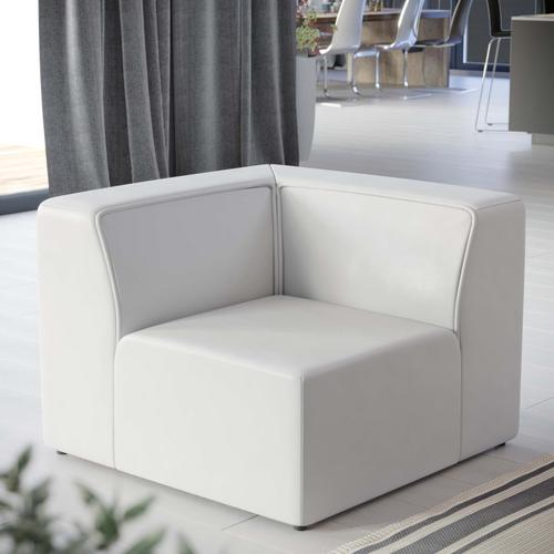 Modway - Mingle Vegan Leather Corner Chair in White