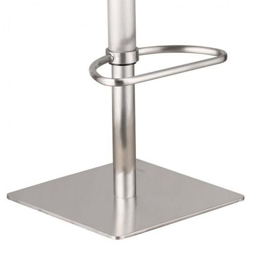 Delmar Adjustable Brushed Stainless Steel Barstool in Gray Pu