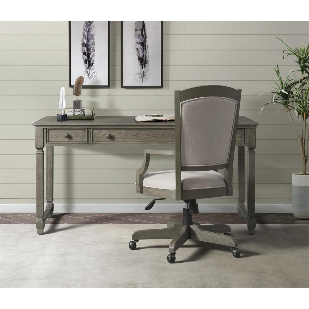 See Details - Sloane - Upholstered Desk Chair - Gray Wash Finish