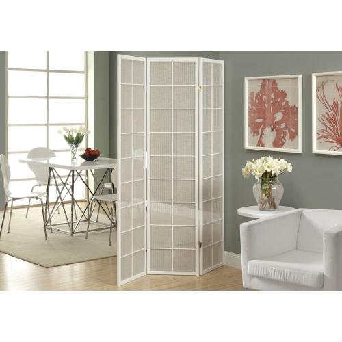 Gallery - FOLDING SCREEN - 3 PANEL / WHITE FRAME WITH FABRIC INLAY