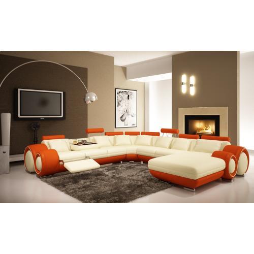 Divani Casa 4084 Modern Cream and Orange Sectional Sofa