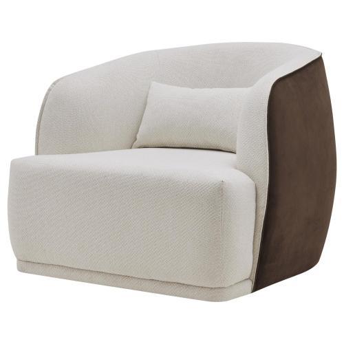 Steward Fabric Swivel Accent Chair, Cardiff Cream/Velvet Brown