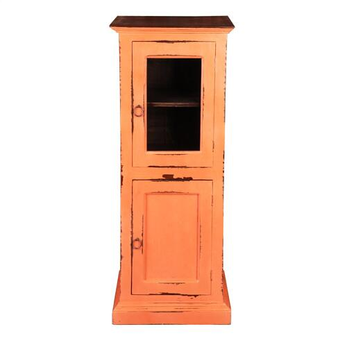 CC-CAB513TLD-CRRW  Glass Door Storage Cabinet  Coral/ Raftwood