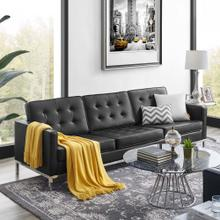 Loft Tufted Upholstered Faux Leather Sofa in Silver Black
