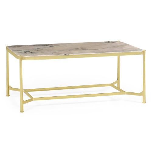 Rectangular Solid Brass & Blanco Equador Marble Top Coffee Table