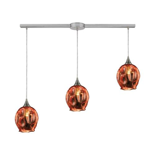Morph 3-Light Linear Mini Pendant Fixture in Satin Nickel with Copper-plated Blown Glass