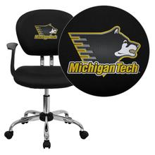 Michigan Technological University Huskies Embroidered Black Mesh Task Chair with Arms and Chrome Base
