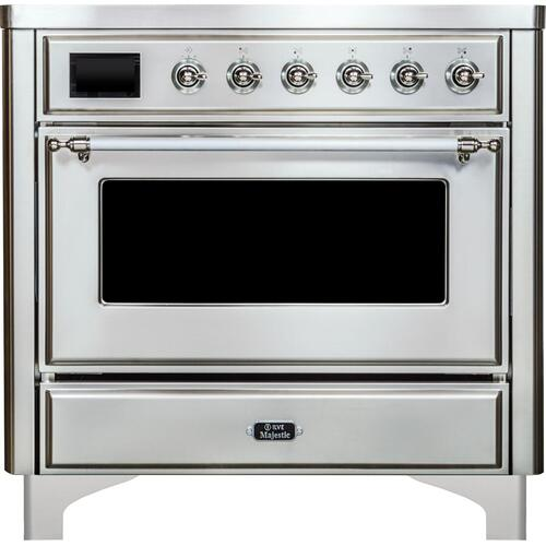 Majestic II 36 Inch Electric Freestanding Range in Stainless Steel with Chrome Trim