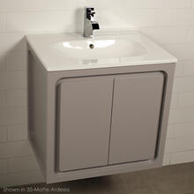 Wall-mount under-counter vanity with pull out bottom behind two finger pull doors.