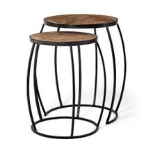 Clapp III (Set of 2) 20L x 20W Brown Round Wood Top W/ Black Metal Frame Nesting Accent Tables