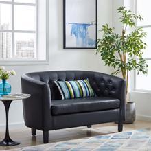 See Details - Prospect Upholstered Vinyl Loveseat in Black