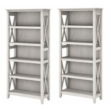 Key West 5 Shelf Bookcase Set - Linen White Oak