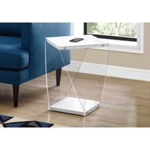 """ACCENT TABLE - 22""""H / GLOSSY WHITE / CLEAR ACRYLIC"""