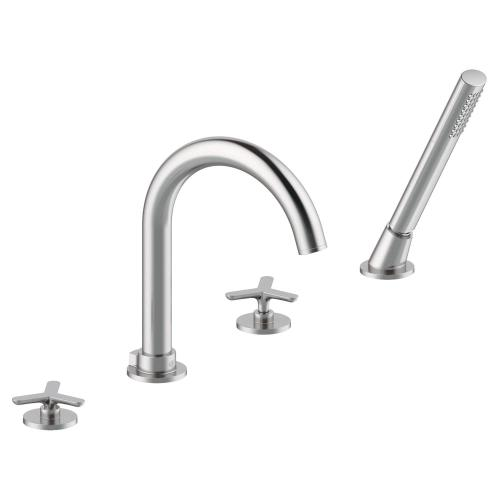 Percy Deck Mount Tub Filler with Hand Shower - Tri-Spoke Handles - Polished Chrome