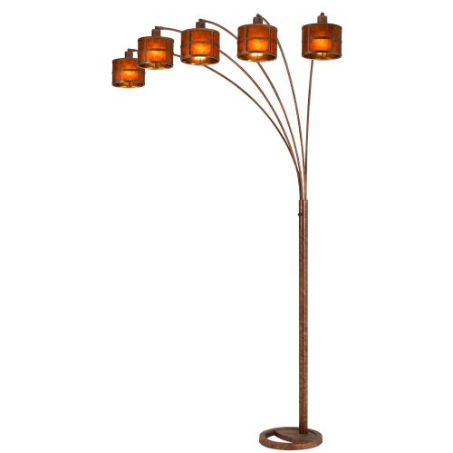 See Details - 60W X 5 Metal Mica 5 Arms Heavy Duty Arc Floor Lamp