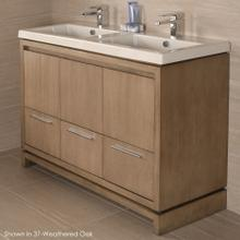 "Free-standing under-counter vanity with finger pulls across top doors and polished chrome pulls across bottom drawers, 54 5/8"" W, 17 5/8"" D, 33 1/4"" H."