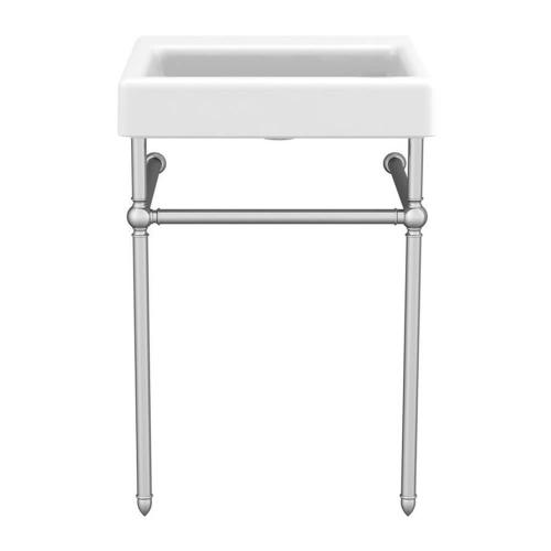 """Dxv - Oak Hill 24"""" Bathroom Sink with Console - Canvas White / Polished Chrome"""
