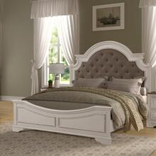 See Details - Laval Antique White and Oak Wood Upholstered KING & QUEEN Bed, Queen