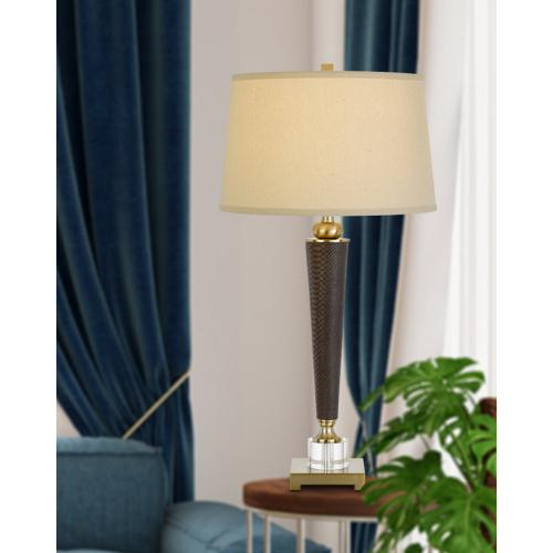 150W 3 way Sebree resin/leathrette table lamp with crystal font and metal base. Hardback taper fabric drum shade
