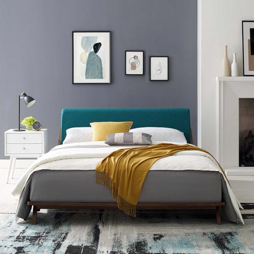 Modway - Luella Queen Upholstered Fabric Platform Bed in Walnut Teal