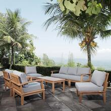 Marina 8 Piece Outdoor Patio Teak Set in Natural Gray