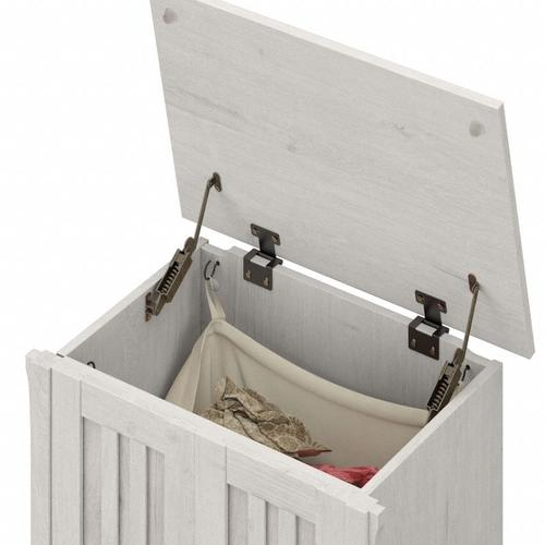 Salinas Bathroom Laundry Hamper with Lid and Removeable Liner Bag - Linen White Oak